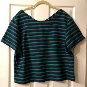 J Crew Blue & Green Striped Blouse